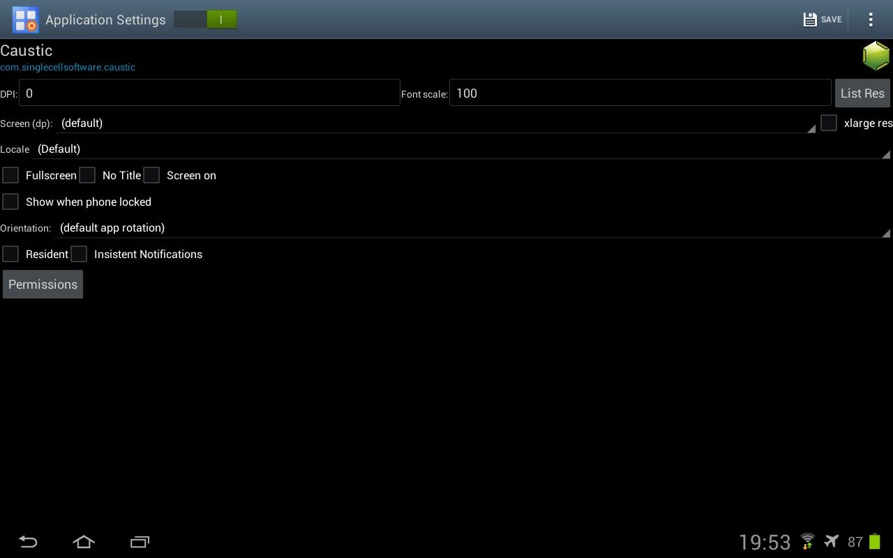 Достаточно изменить значение DPI на 160, и интерфейс приложения изменится на планшетный