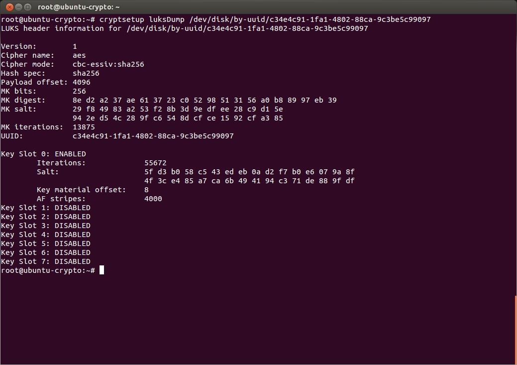 Заголовок шифрованного тома в читабельном виде