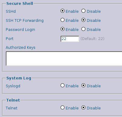 Рисунок 3. Отключение Telnet и активация SSH