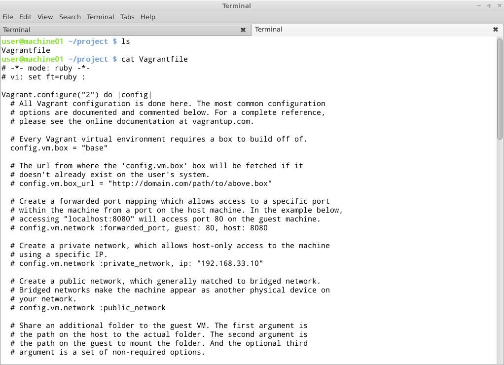Настройка проекта в Vagrant производится при помощи специального файла