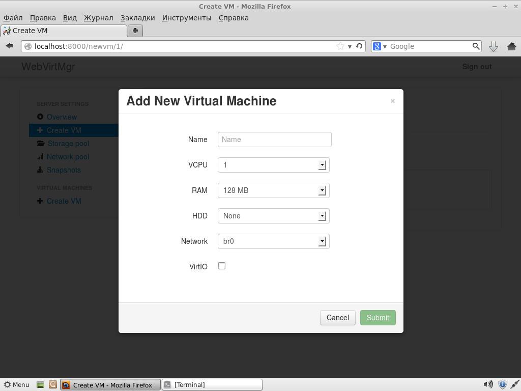 Создание новой VM в WebVirtMgr