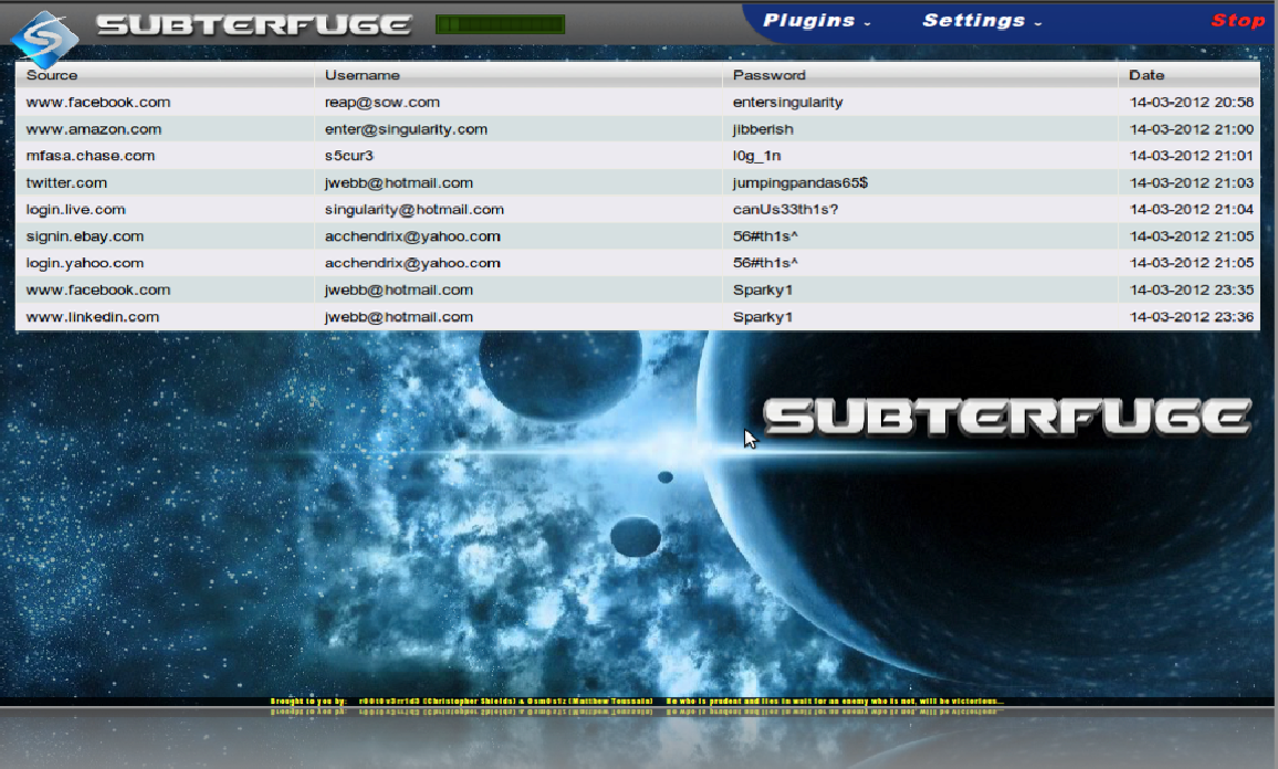 Провести mitm атаку с помощью Subterfuge
