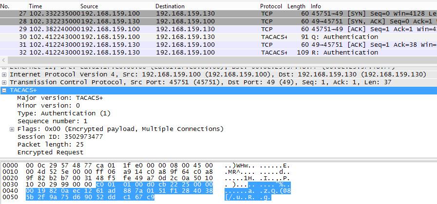 Пример заголовков пакетов TACACS+, используемых для генерации