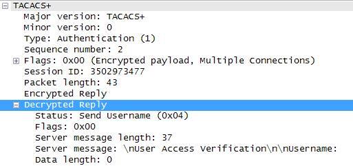 Пример ответа от сервера TACACS+ со строкой-приветствием и запросом логина