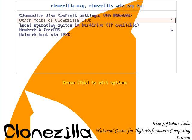 Загрузка Clonezilla
