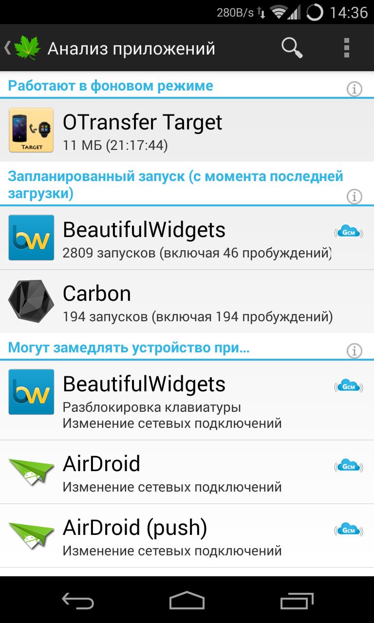 Greenify подскажет, какие приложения чаще пробуждают устройства