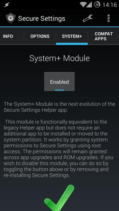 После установки Secure Settings следует активировать модуль System+