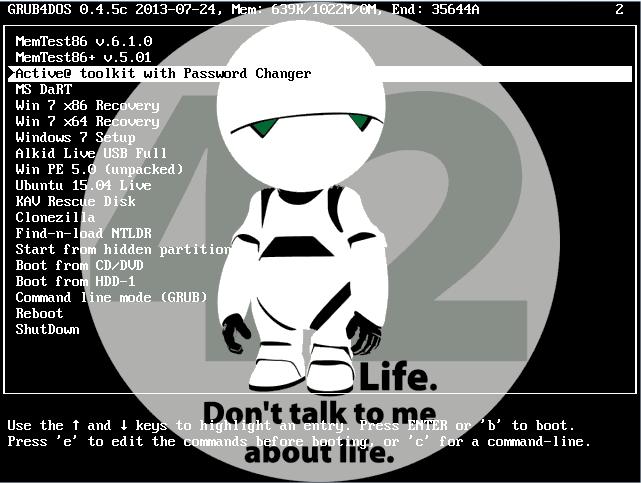 Основное меню мультизагрузочной флешки