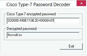 Декодируемый пароль типа 7 в Cain&Abel