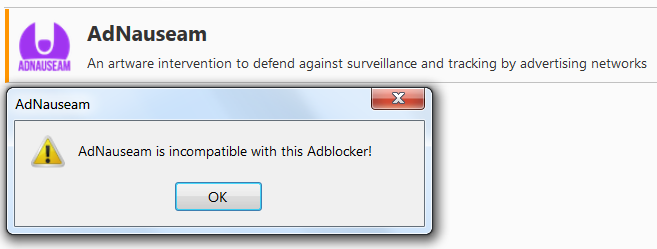 AdNauseam несовместим с версиями Adblock Plus после 2.6.11