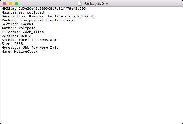 Заполненный файл Packages