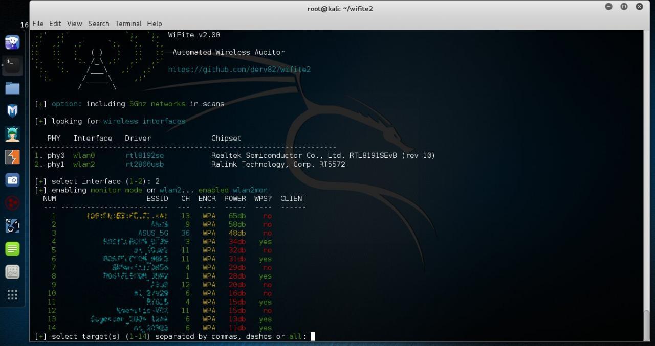 WiFite 2.00 нашел AP на канале 36 (5 ГГц)
