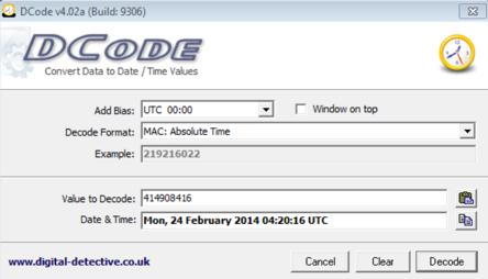 Декодированная временная метка в формате MAC Absolute