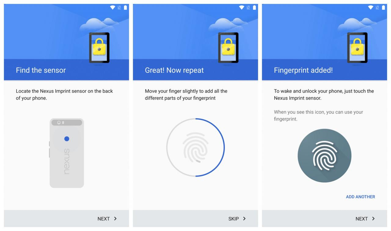 Настройка сканера отпечатков в Nexus 6P