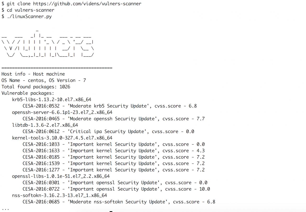 Отличный сканер уязвимостей Linux серверов на базе Vulners