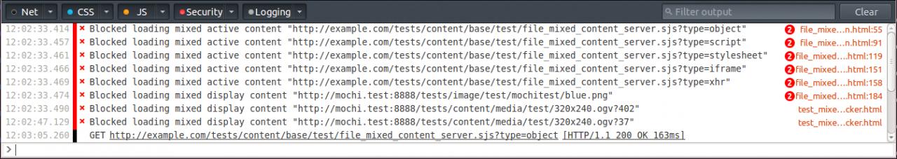 Рис. 3. Блокировка HTTP-контента на сайтах, использующих HTTPS