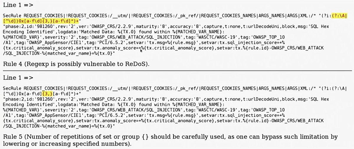 Пример запуска анaлизатора на выборке правил, отобранной через grep