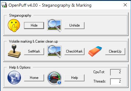 Основное окно OpenPuff