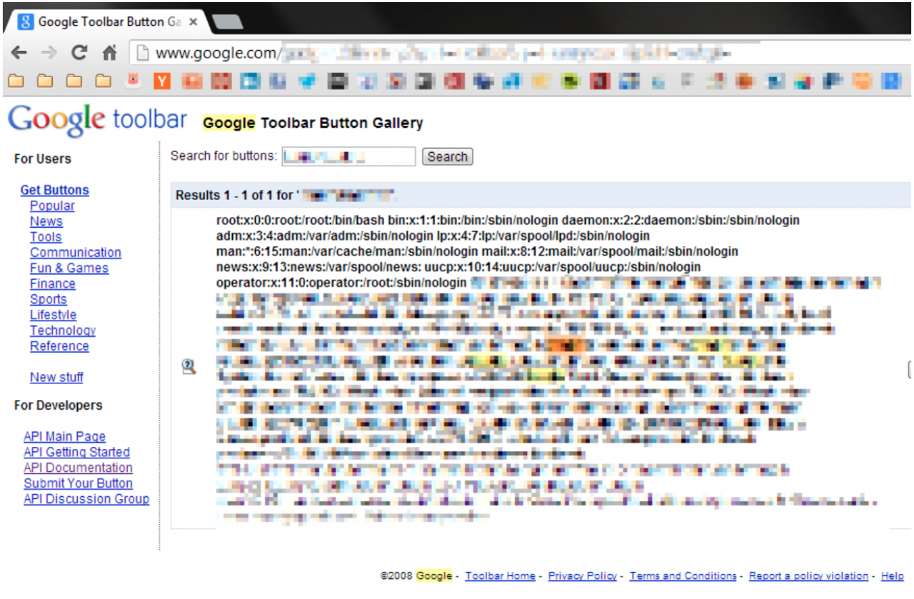 Detectify screenshot of Google's internal files