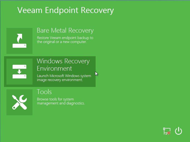 Загрузка в среде восстановления Veeam