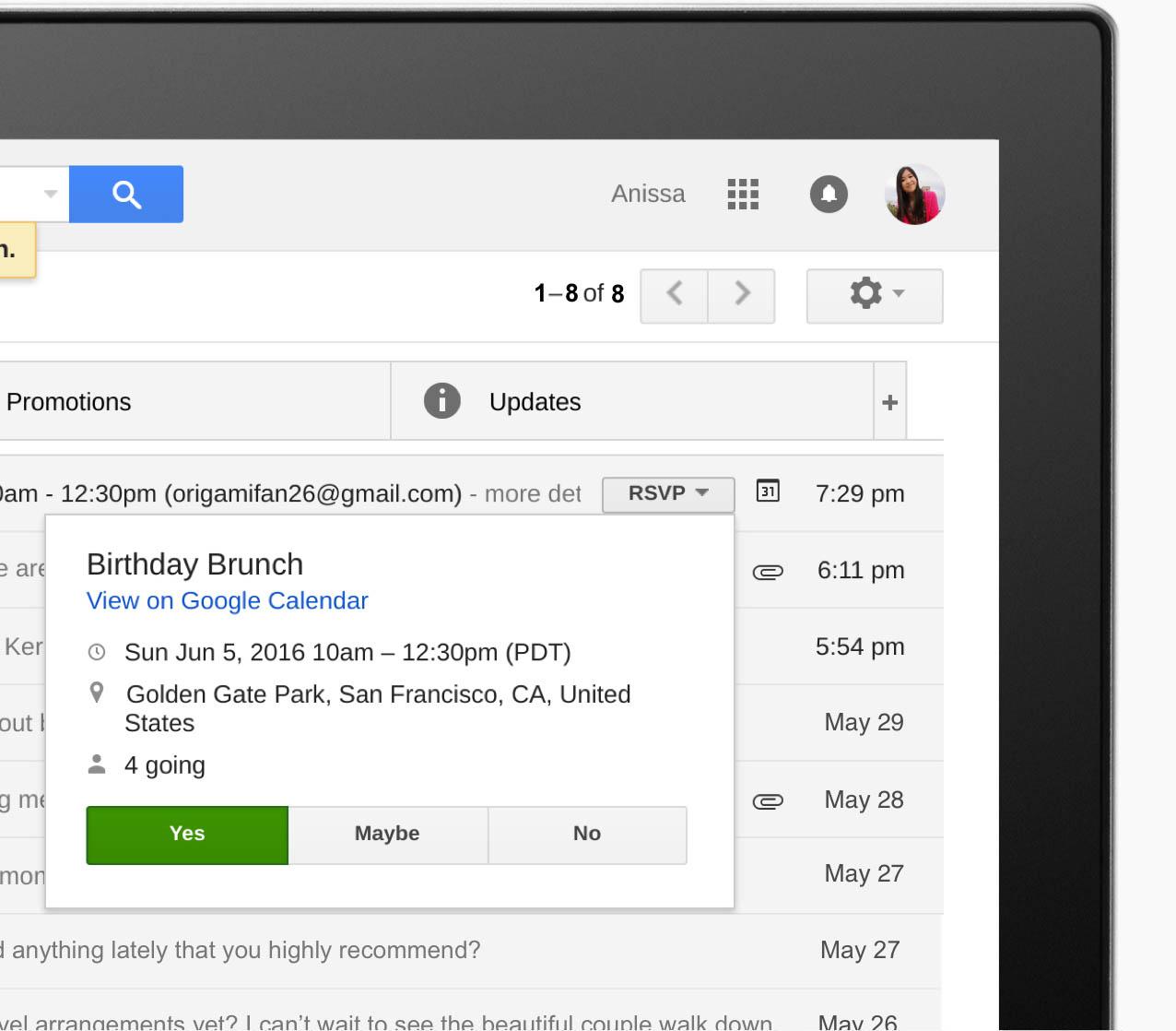 Пример фишингового письма от Google
