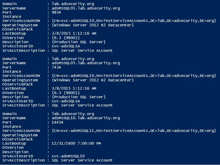 Результат работы скрипта для серверов Microsoft SQL