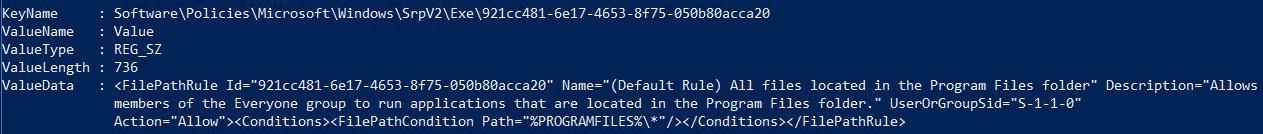 Пример разрешающего правила AppLocker