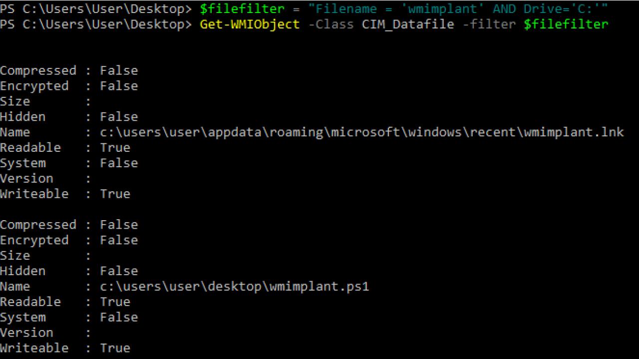 Поиск файла wmimplant на диске C с использованием WMImplant