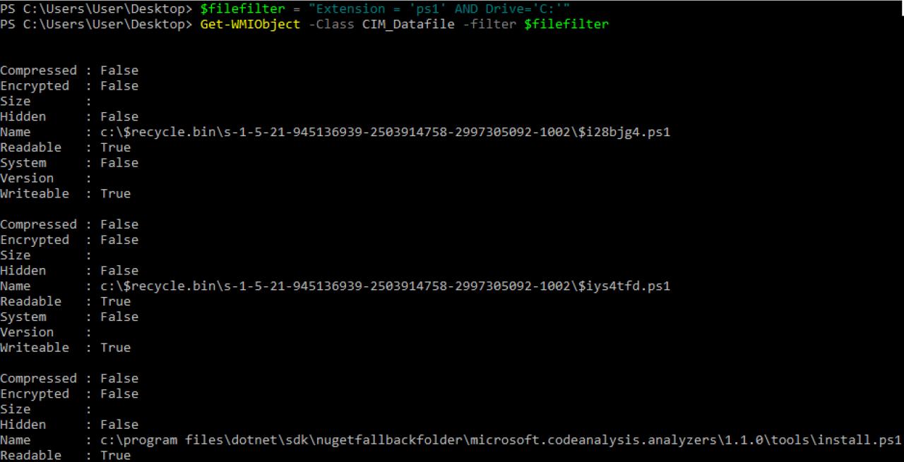 Поиск файлов *.ps1 на диске C с использованием WMImplant