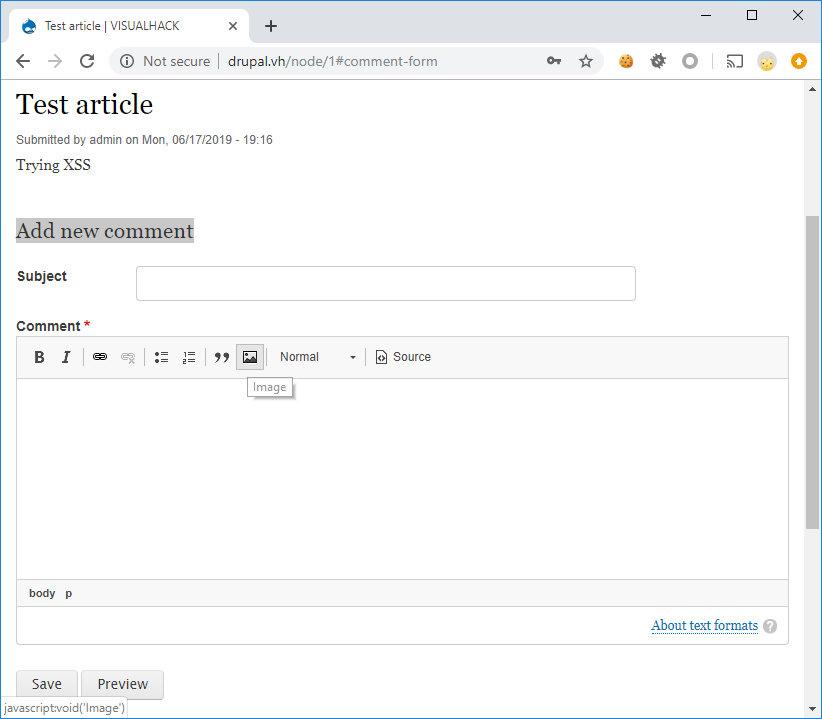 Добавление картинок в форме комментирования записи в Drupal