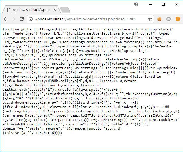 Вызов загрузки скрипта utils.min.js через load-scripts.php