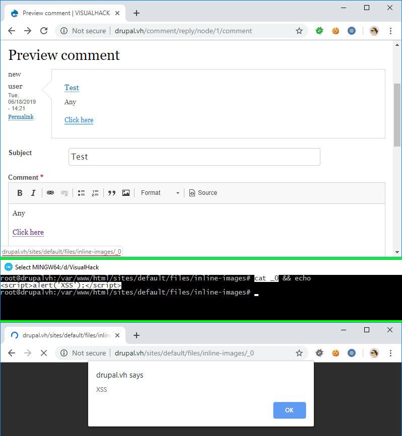 Успешная XSS-атака на Drupal 8.6.5