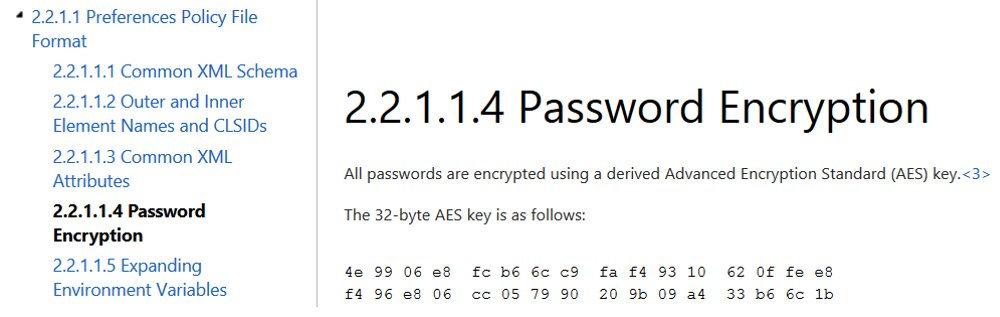 Ключ шифрования, представленный MSDN