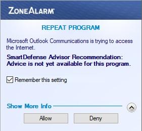 Режим обучения ZoneAlarm Free Firewall