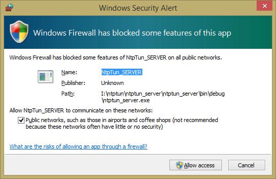 Запрос от Windows Firewall. Нажми Allow access