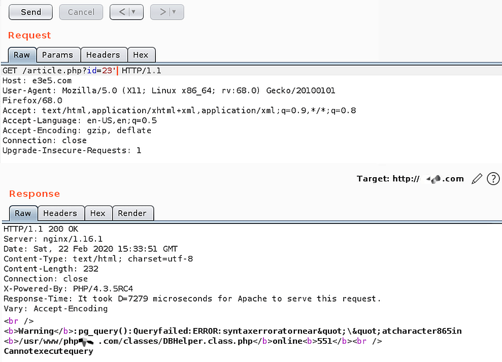 SQL-инъекция в Repeater