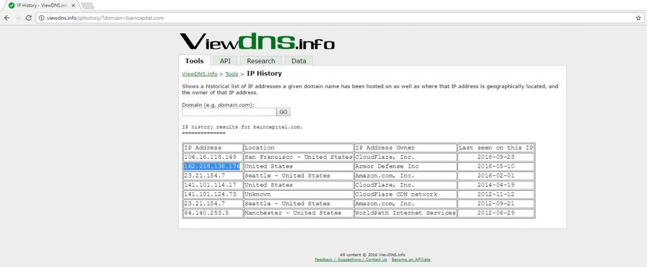 История IP-адресов для домена baincapital.com