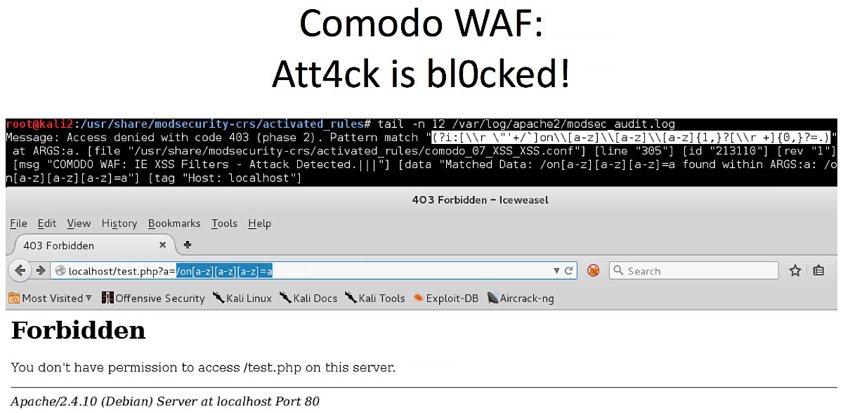 После «исправления» регулярка Comodo WAF отдает false positive