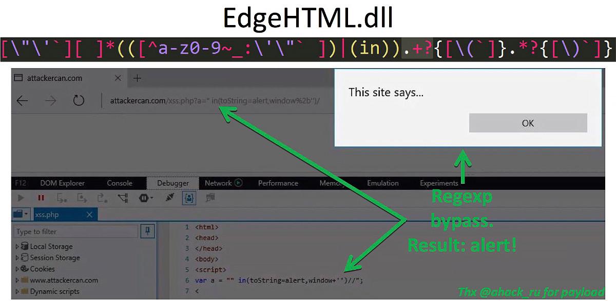 Байпас XSS-аудитора в браузере Microsoft Edge