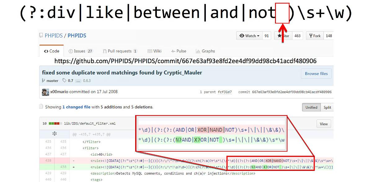 Коммит, который сломал регулярку в коде PHPIDS