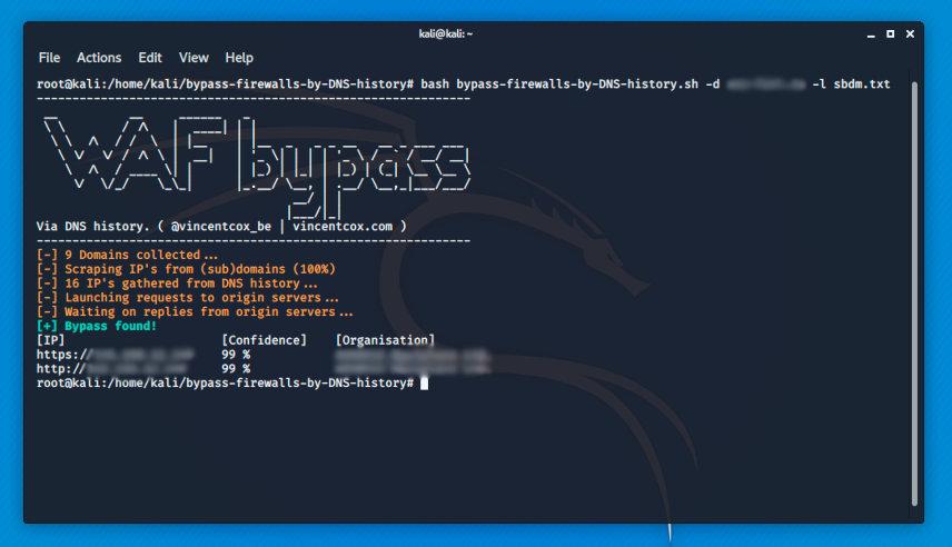 Результат работы WAF Bypass с помощью списка поддоменов