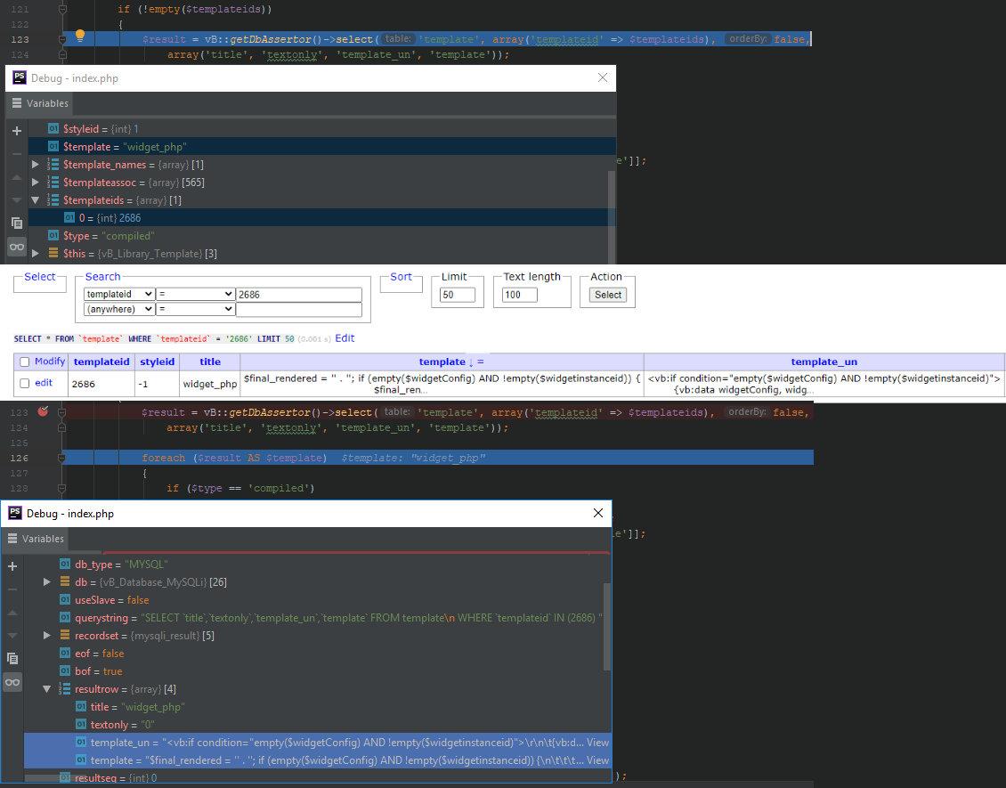 Загрузка шаблона виджета widget_php из базы данных